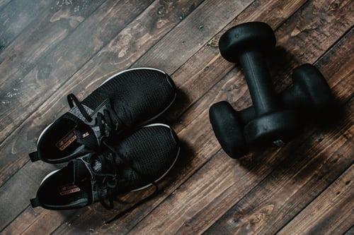 dumbells + shoes